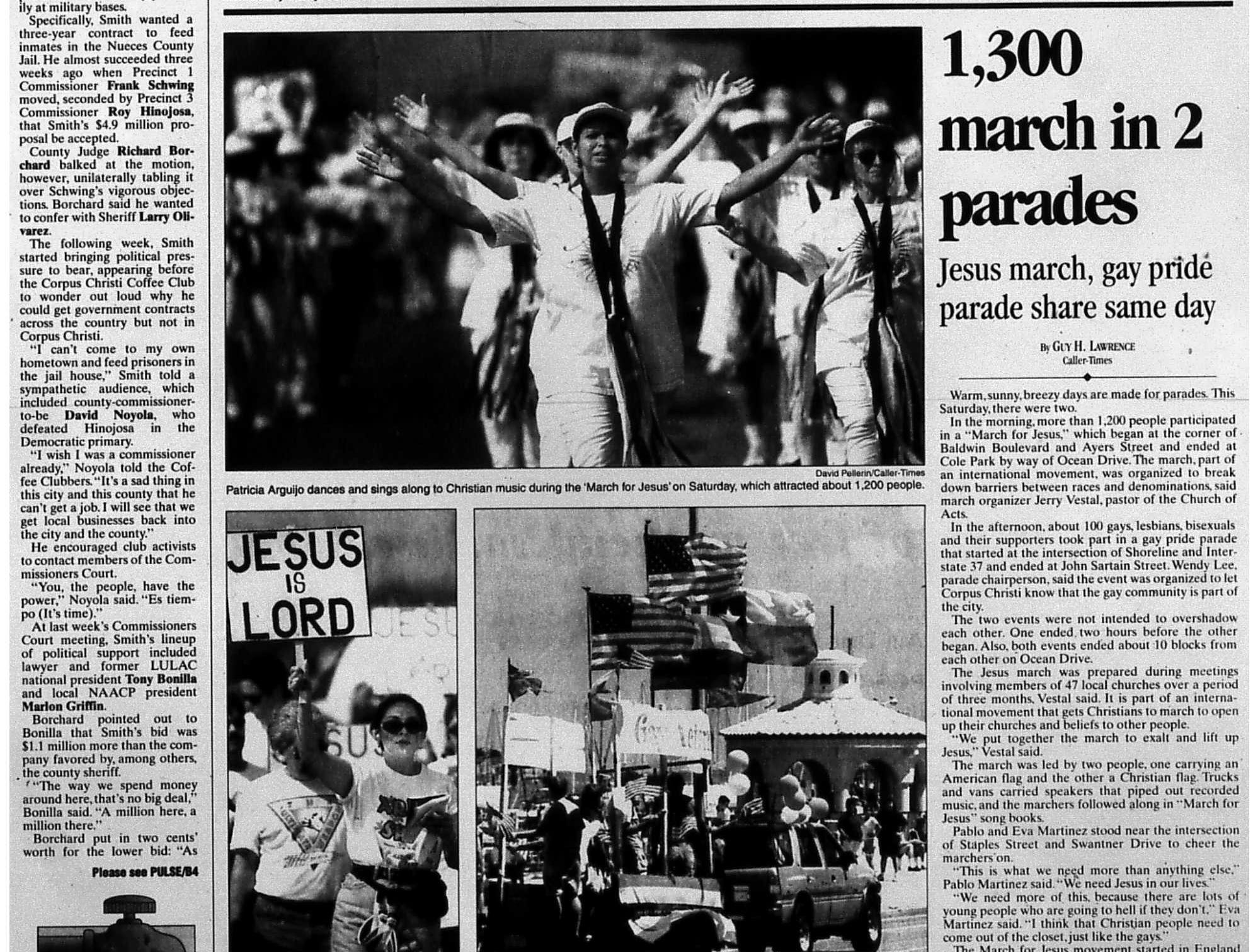The local section front page of the May 31, 1998 Caller-Times with a story about two parades being held on the same day. One was a gay pride parade and another was a Jesus parade. (1 of 2)