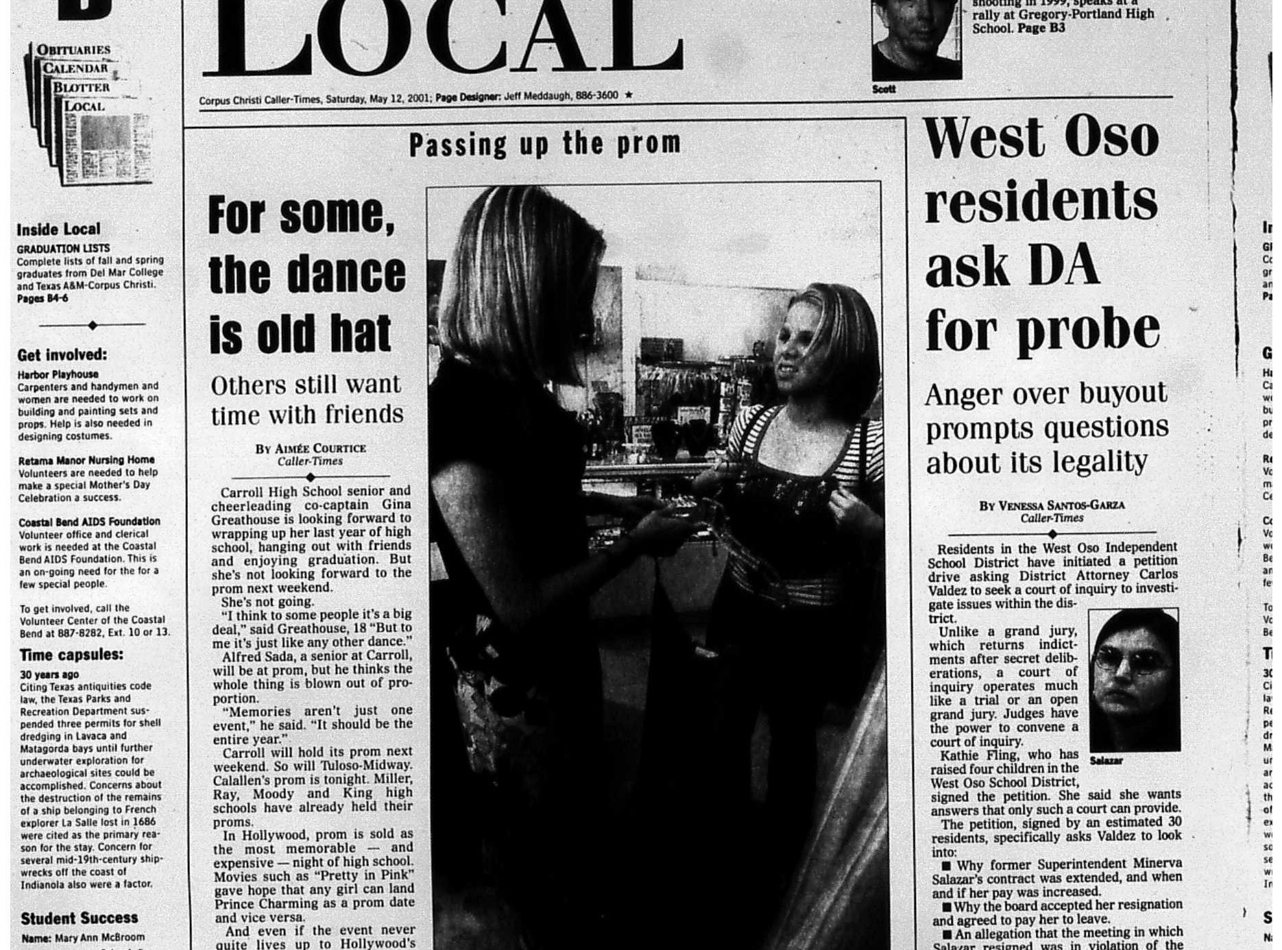The local section front page of the May 12, 2001 Caller-Times featuring an alternative prom primarily for LGBT youth.