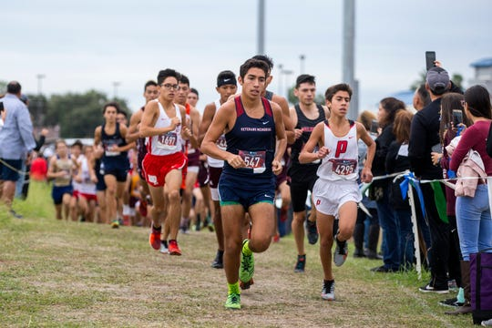 Veterans Memorial's Patrick Garza (547) competes in the boys 5A regional cross-country meet at TAMUCC's Dugan Stadium on Monday, October 22, 2018.