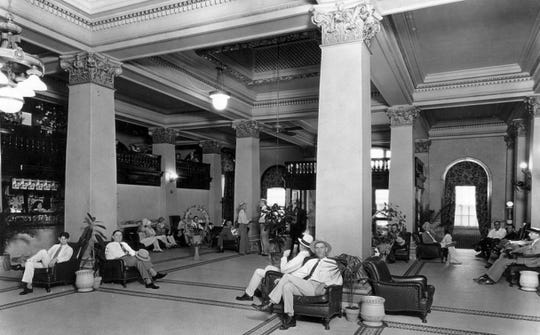 The lobby of the Nueces Hotel. The hotel, which opened in 1913, was the pride of Corpus Christi. It was said that its nearest competitor for the quality of its food and service was the Rice Hotel in Houston.