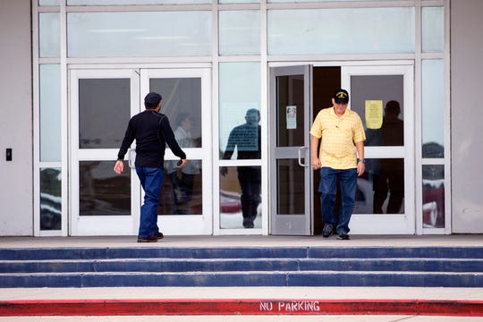 A steady stream of voters entered and exited Veterans Memorial High School on the first day of early voting on Monday, October 22, 2018.