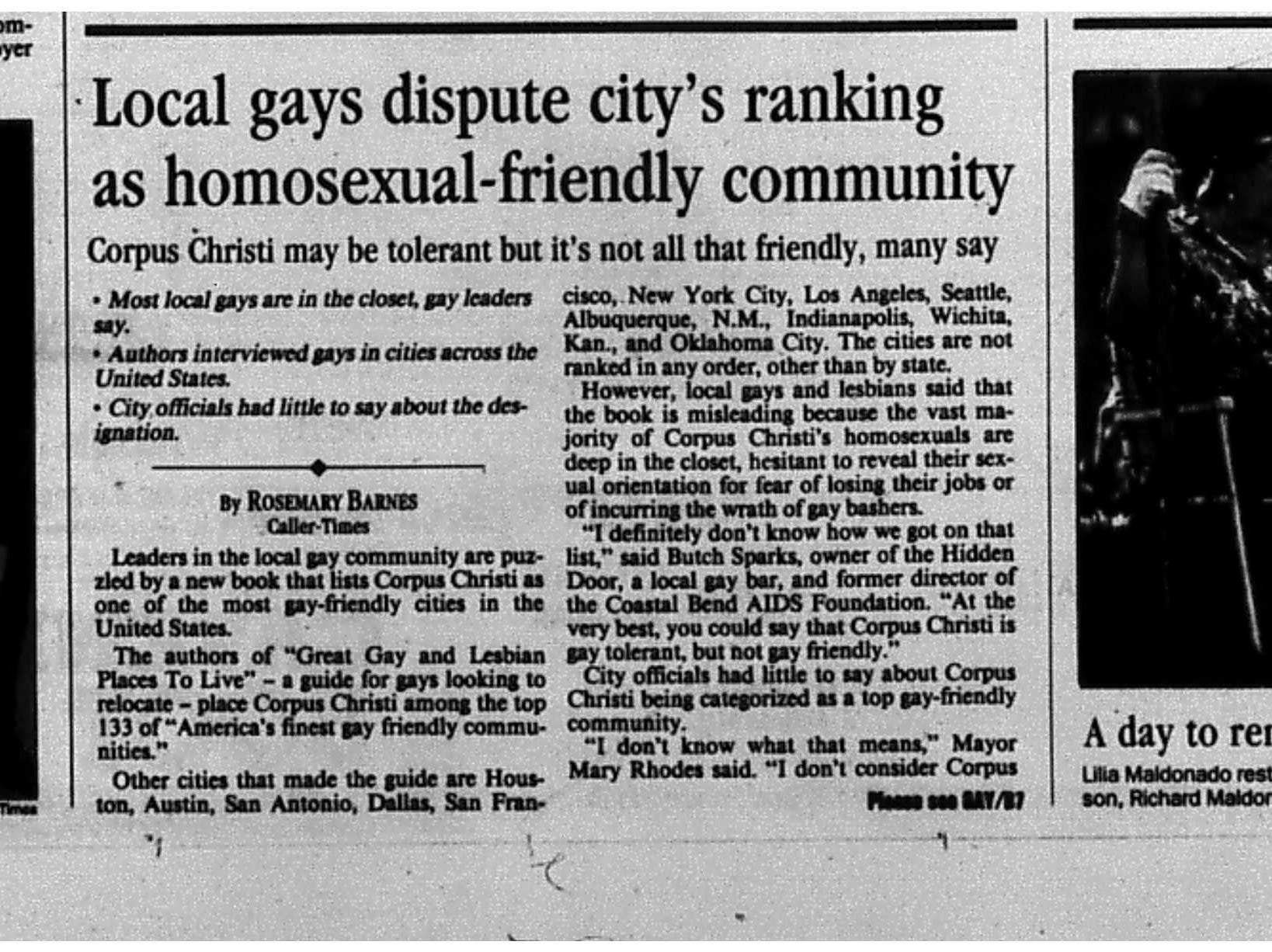 An article from the November 3, 1995 Caller-Times with local gay people disputing Corpus Christi being ranked as a gay-friendly city. (1 of 2)