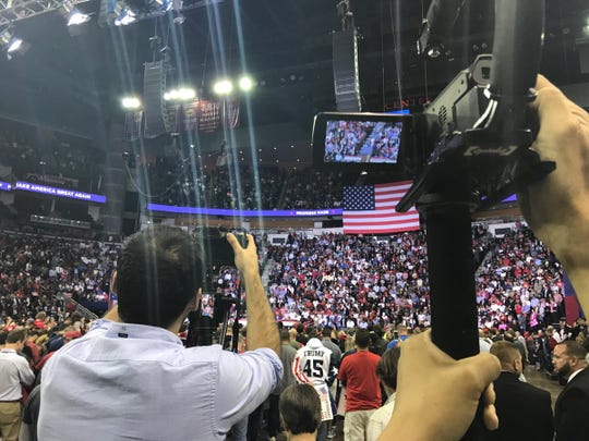 The crowd fills Houston's Toyota Center ahead of President Donald Trump's rally for U.S. Ted Cruz on Oct. 22, 2018.