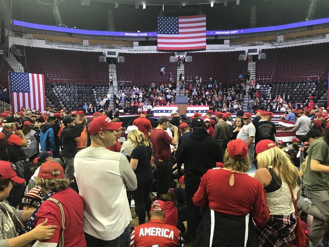 """Supporters of President Donald Trump and U.S. Sen. Ted Cruz are in place for the """"Make America Great Again"""" rally in Houston's Toyota Center on Oct. 22, 2018."""