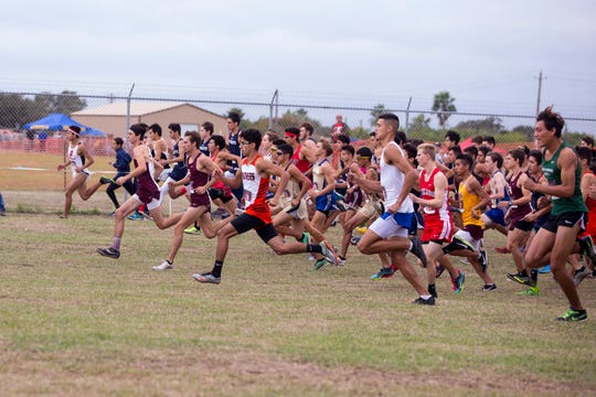 Boys compete in the 5A regional cross-country meet at TAMUCC's Dugan Stadium on Monday, October 22, 2018.