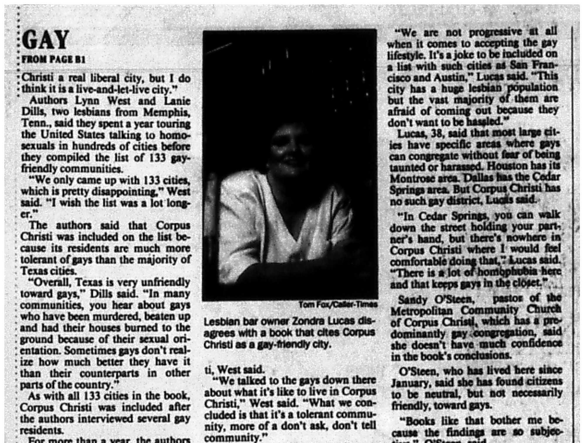 An article from the November 3, 1995 Caller-Times with local gay people disputing Corpus Christi being ranked as a gay-friendly city. (2 of 2)
