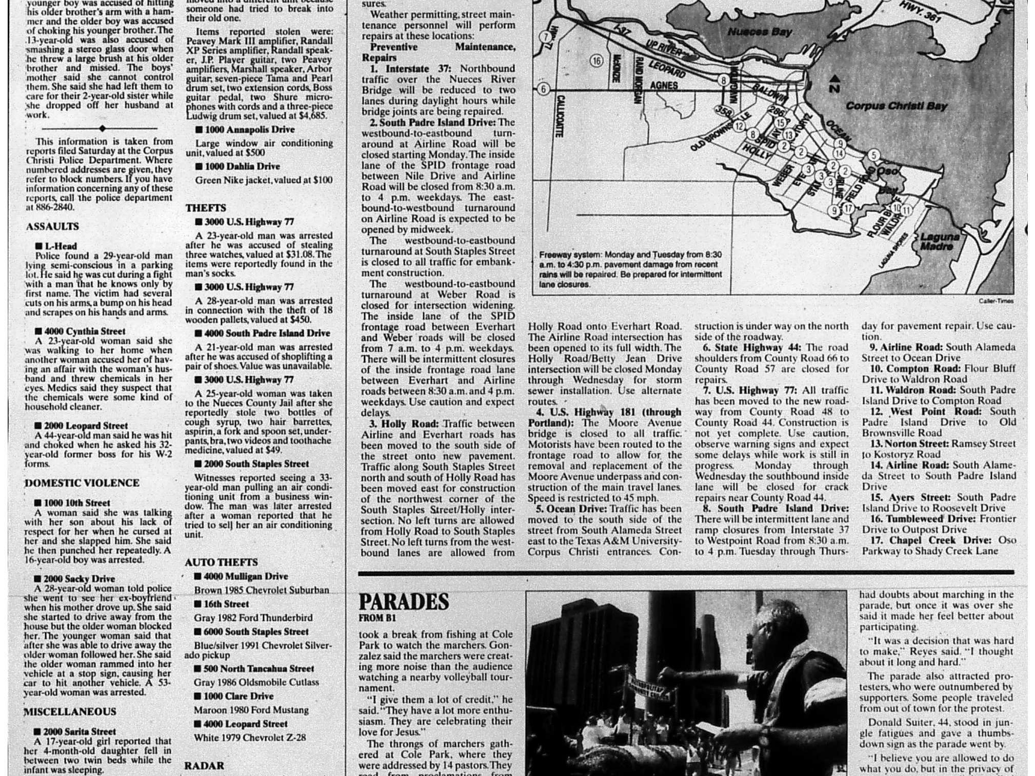 A page of the May 31, 1998 Caller-Times with a story about two parades being held on the same day. One was a gay pride parade and another was a Jesus parade. (2 of 2)