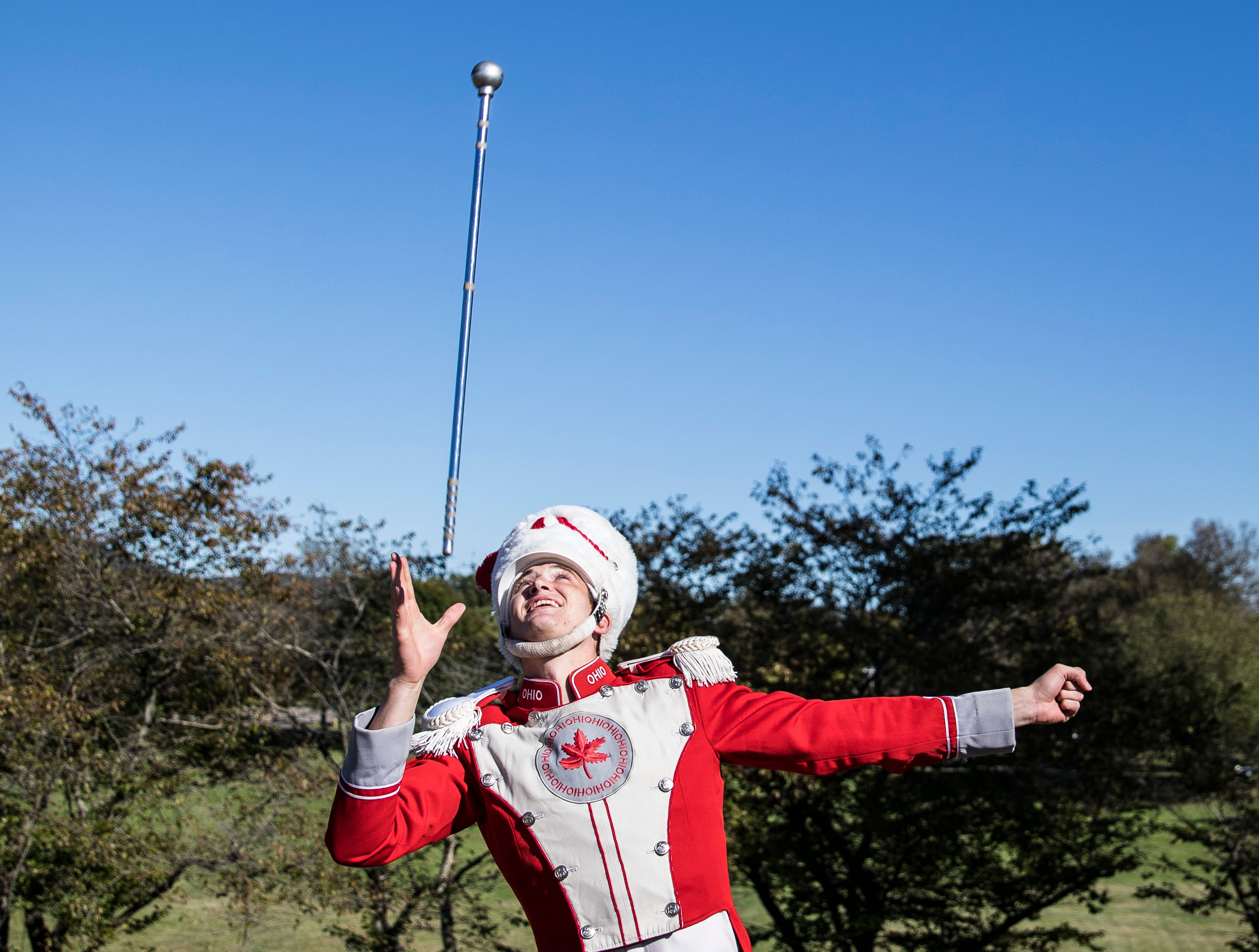 Drum major Konner Barr practices at Chillicothe Middle School before THE Ohio State Band perform at Herrnstein Field in Chillicothe Sunday afternoon.