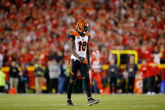 Cincinnati Bengals wide receiver A.J. Green (18) walks back to the line of scrimmage between plays in the first quarter of the NFL Week 7 game between the Kansas City Chiefs and the Cincinnati Bengals at Arrowhead Stadium in Kansas City, Mo., on Tuesday, Oct. 16, 2018.