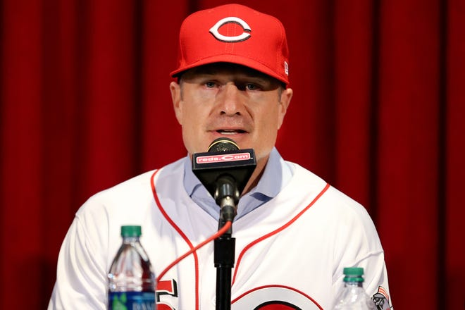 David Bell, a Cincinnati native and Moeller High School alumnus, is introduced as the next Cincinnati Reds field manager, Monday, Oct. 22, 2018, at Great American Ball Park in Cincinnati.