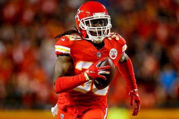 Ron Parker #38 of the Kansas City Chiefs runs towards the end zone on his way to a pick six during the third quarter of the game against the Cincinnati Bengals at Arrowhead Stadium on October 21, 2018 in Kansas City, Kansas.