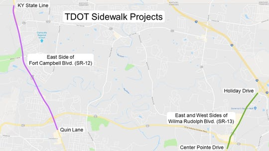 Two sidewalk projects are planned in Clarksville by the Tennessee Department of Transportation.