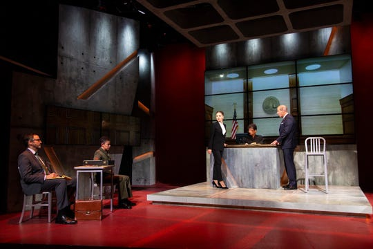 "Peter Frechette, left to right, Flor De Liz Perez, Margarita Levieva, Melissa Maxwell and John Bolger in a scene from ""The Trial of Donna Caine."""