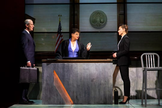 "John Bolger, Melissa Maxwell and Margarita Levieva in a scene from ""The Trial of Donna Caine."""