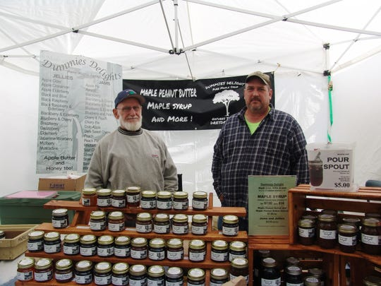 Vendors Gary and Tim Heather of Dummies Delight said they have a good following of repeat customers at the festival. The two have been selling their homemade maple syrup, jams and jellies there for six years.