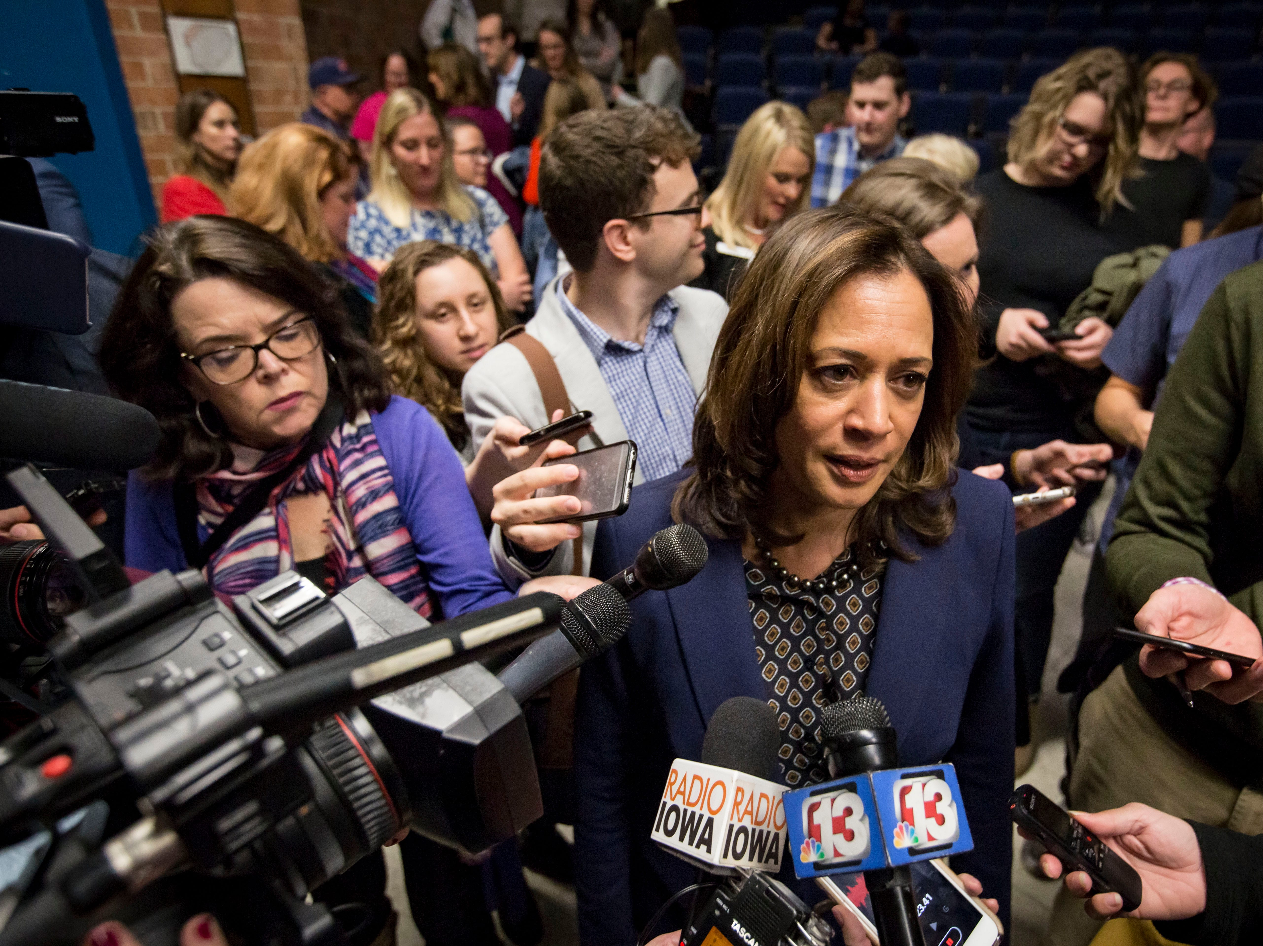 'There is so much at stake': U.S. Sen. Kamala Harris rallies Democrats in her debut Iowa trip