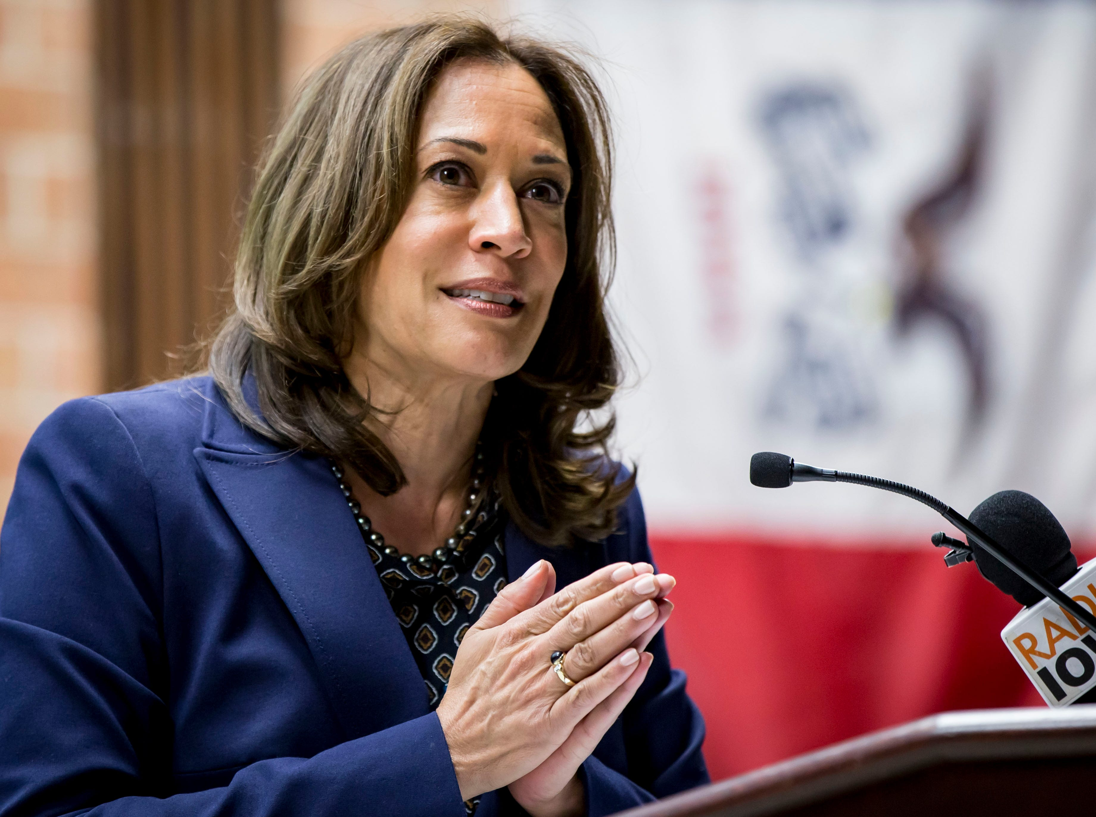 Democratic Senator Kamala Harris of California speaks during a DMACC Early Vote rally  Monday, Oct. 22, 2018, in Ankeny, Iowa. She appeared with Congressional candidate Cindy Axne, State Senate candidate Amber Gustafson and Iowa House candidate Heather Maston.