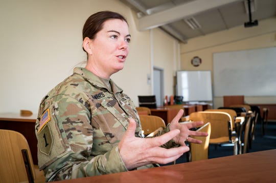Maj. Kerri Lewers, 41, of West Des Moines, a bilateral affairs officer, part of the Department of Defense team within the American embassy coordinating assistance to the Kosovo Security Force (KSF), is shown here Tuesday, Sept. 18, 2018, at RIT's American University of Kosovo campus in Pristina.