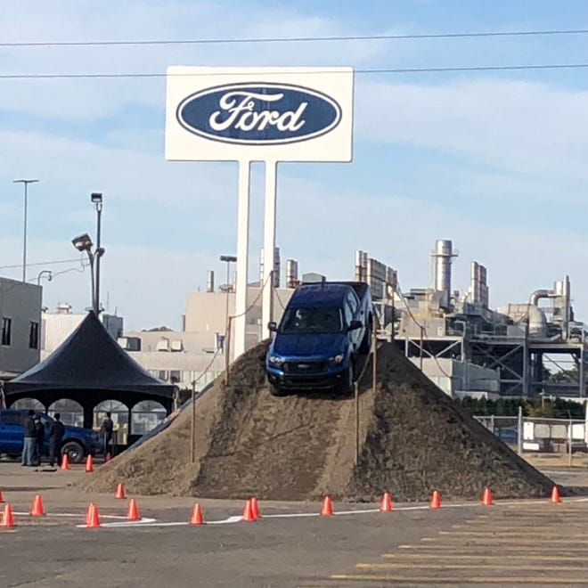 2019 Ford Ranger midsize pickup of off-road course in the parking lot of the Wayne assembly plant.