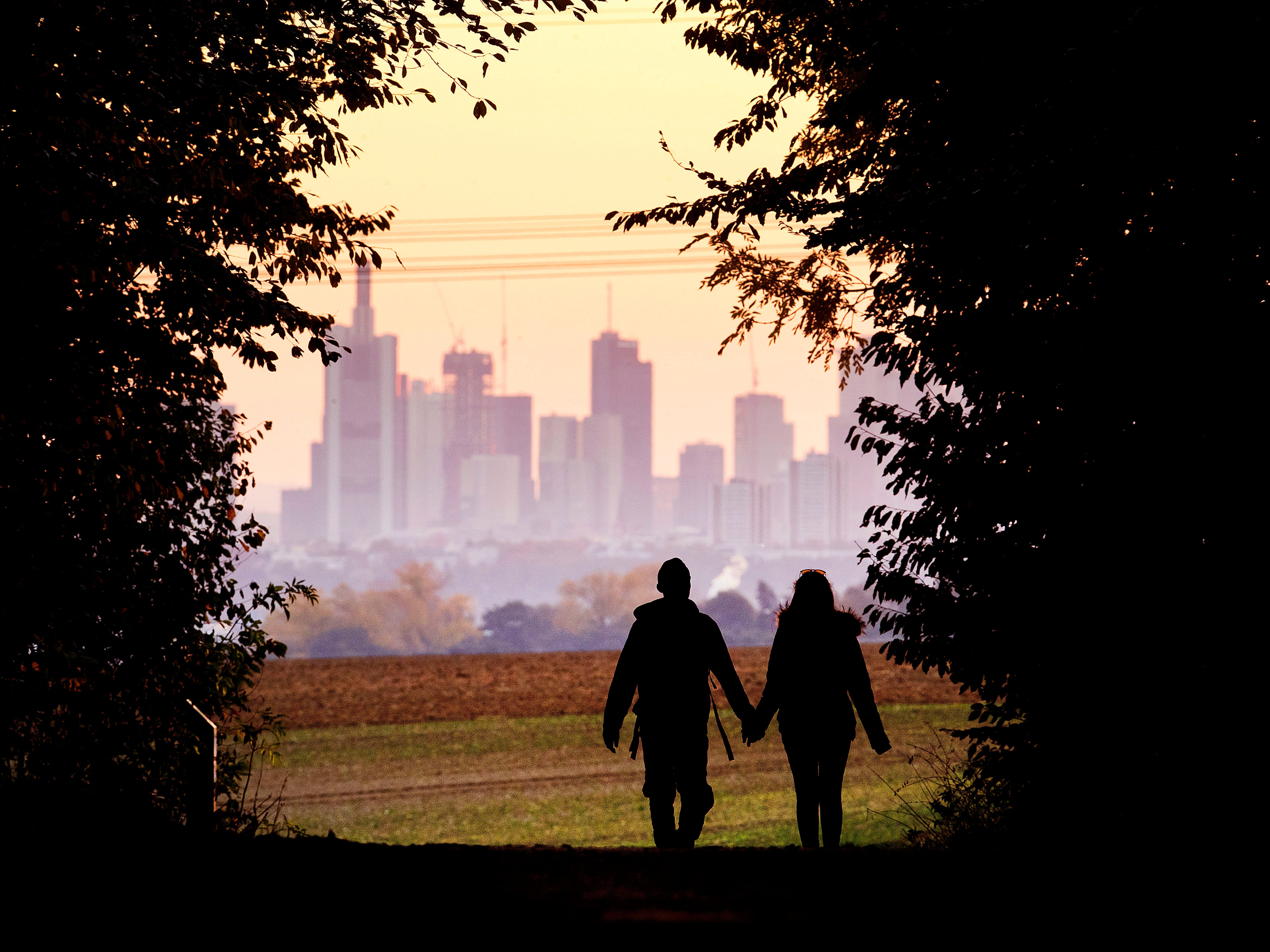 A young couple walks through a forest with the skyline in the background near Frankfurt, Germany, Sunday, Oct.21, 2018.
