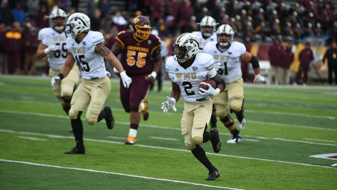 Western Michigan running back LeVante Bellamy ran 145 yards on 19 carries and a touchdown in Saturday's 35-10 victory over Central Michigan.