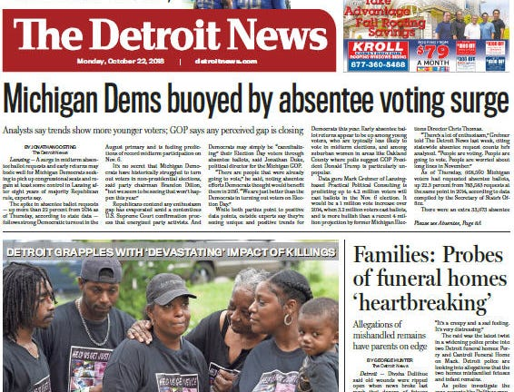 Front page of The Detroit News on Monday, October 22, 2018.