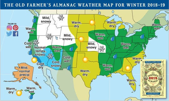 Winter forecast from the Old Farmer's Almanac.