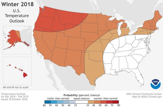 NOAA temperature outlook map for winter 2018-19.