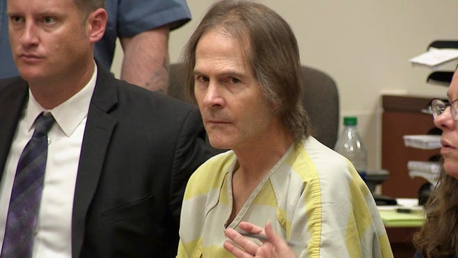 This image made from video shows Scott Ostrem in court in Brighton, Colo., Friday, Oct. 19, 2018. Ostrem, who gunned down three people in a suburban Denver Walmart in 2017, was sentenced Friday to life in prison without parole, but more than 11 months after the crime, his motive remains a mystery. (KMGH-TV via AP, Pool)