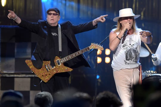 Inductee Rick Nielsen and Robin Zander of Cheap Trick perform onstage at the 31st Annual Rock and Roll Hall of Fame Induction Ceremony in 2016.
