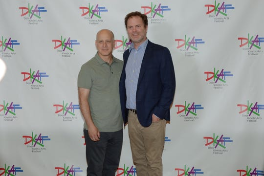 """Door Kinetic Arts Festival artistic director Eric Simonson, left, and actor Rainn Wilson (Dwight from TV's """"The Office"""") at the festival's 2018 short film fest. Submissions for the 2019 film fest are being accepted through March 21, but submissions before Nov. 1 have a discounted entry fee."""