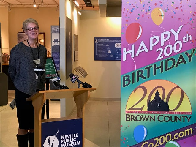 Beth Lemke, Executive Director of Neville Public Museum, talks Monday about Brown County's 200th birthday party which will be held 10 a.m. to 7 p.m. Friday at the museum in Downtown Green Bay.