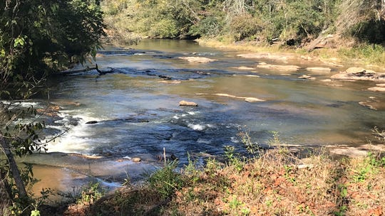 A view of the Twelve Mile River from the observation deck of Pickens County's new Cateechee Beach Park.