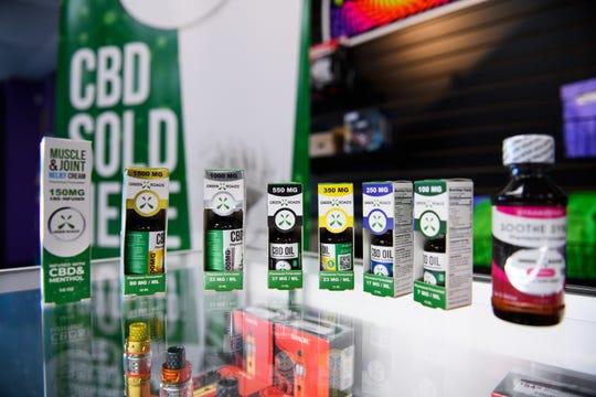 An assortment of CBD oils are on display at Get Weird Vape Smoke Shop on Monday, Oct. 22, 2018.