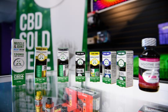 An assortment of CBD oils are on display at Get Weird Vape Smoke Shop on Monday, Oct. 22, 2018.