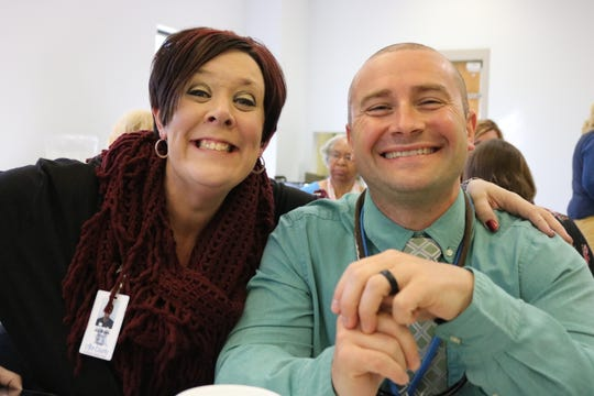 Joy Myers of FRYSC and Ryan Scott, Morganfield Elementary Principal, enjoy the luncheon.