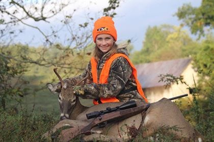 Union County's Dakota Heath with her first KY Buck, a nice 4 pointer. She donated her deer to a local family in need.