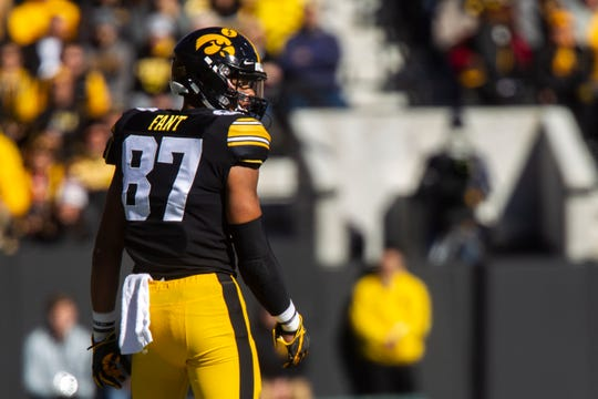Iowa tight end Noah Fant (87) looks over his shoulder during an NCAA Big Ten conference football game on Saturday, Oct. 20, 2018, at Kinnick Stadium in Iowa City.