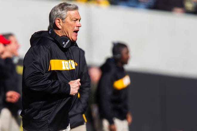 Iowa head coach Kirk Ferentz calls out to an official during an NCAA Big Ten conference football game on Saturday, Oct. 20, 2018, at Kinnick Stadium in Iowa City.