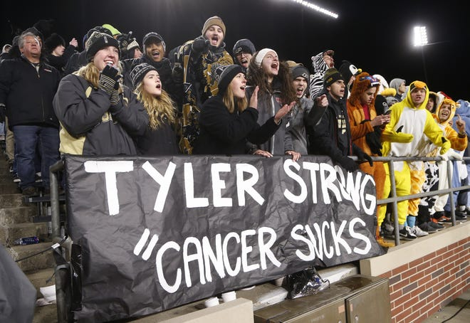 The Purdue faithful showed their support Saturday for Tyler Trent as the Boilermakers pulled away from Ohio State in the fourth quarter at Ross-Ade Stadium. Trent, a Purdue student, is battling bone cancer. Purdue upset the No. 2 ranked Buckeyes 49-20.