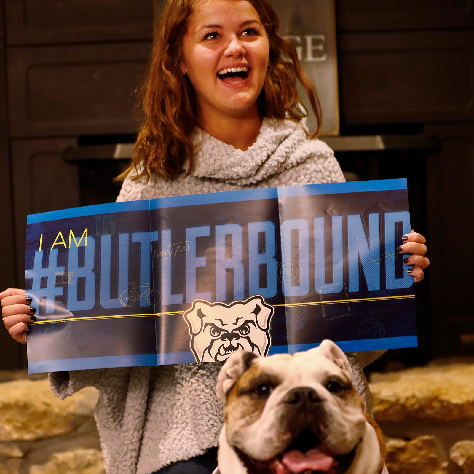 Doyel: Butler's bulldog mascot gives admission news to kid who beat cancer