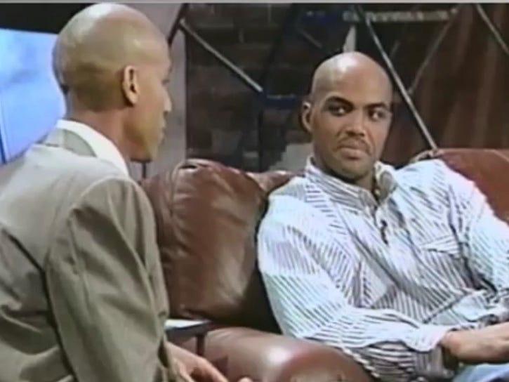 """Reggie Miller teased Charles Barkley about missing a game because of a toenail injury on """"The Reggie Miller Show"""" in the 1990s."""