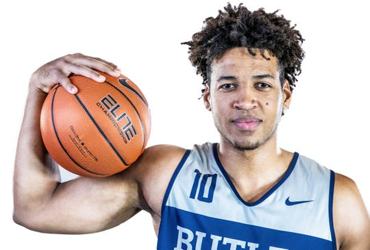 Butler Bulldogs forward Bryce Nze (10) poses for a portrait at Butler University on Friday, Oct. 19, 2018.