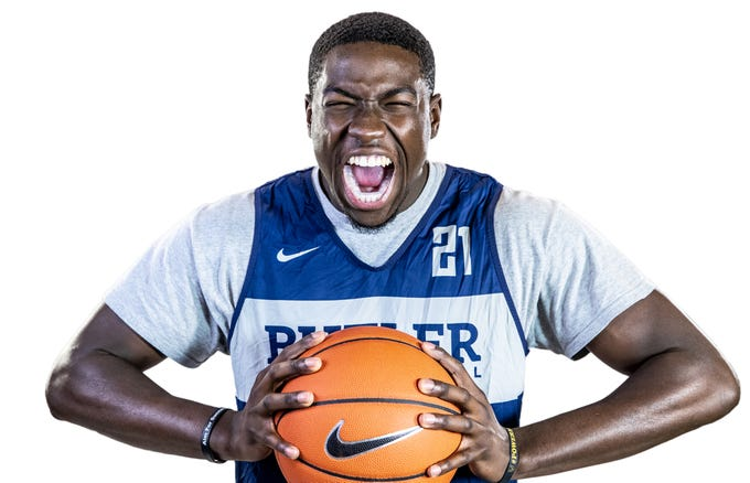 Butler Bulldogs forward Jerald Gillens-Butler (21) poses for a portrait at Butler University on Friday, Oct. 19, 2018.