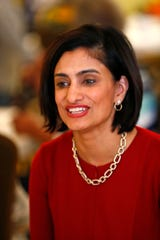 CMS chief Seema Verma talks about Medicare with seniors at Nora Commons on the Monon Senior Apartments, Monday, Oct. 22, 2018.