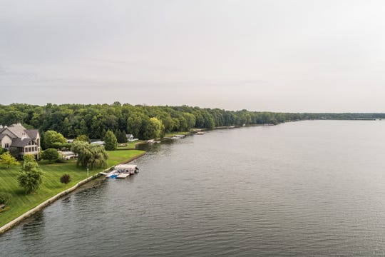 An overhead view of Geist Reservoir