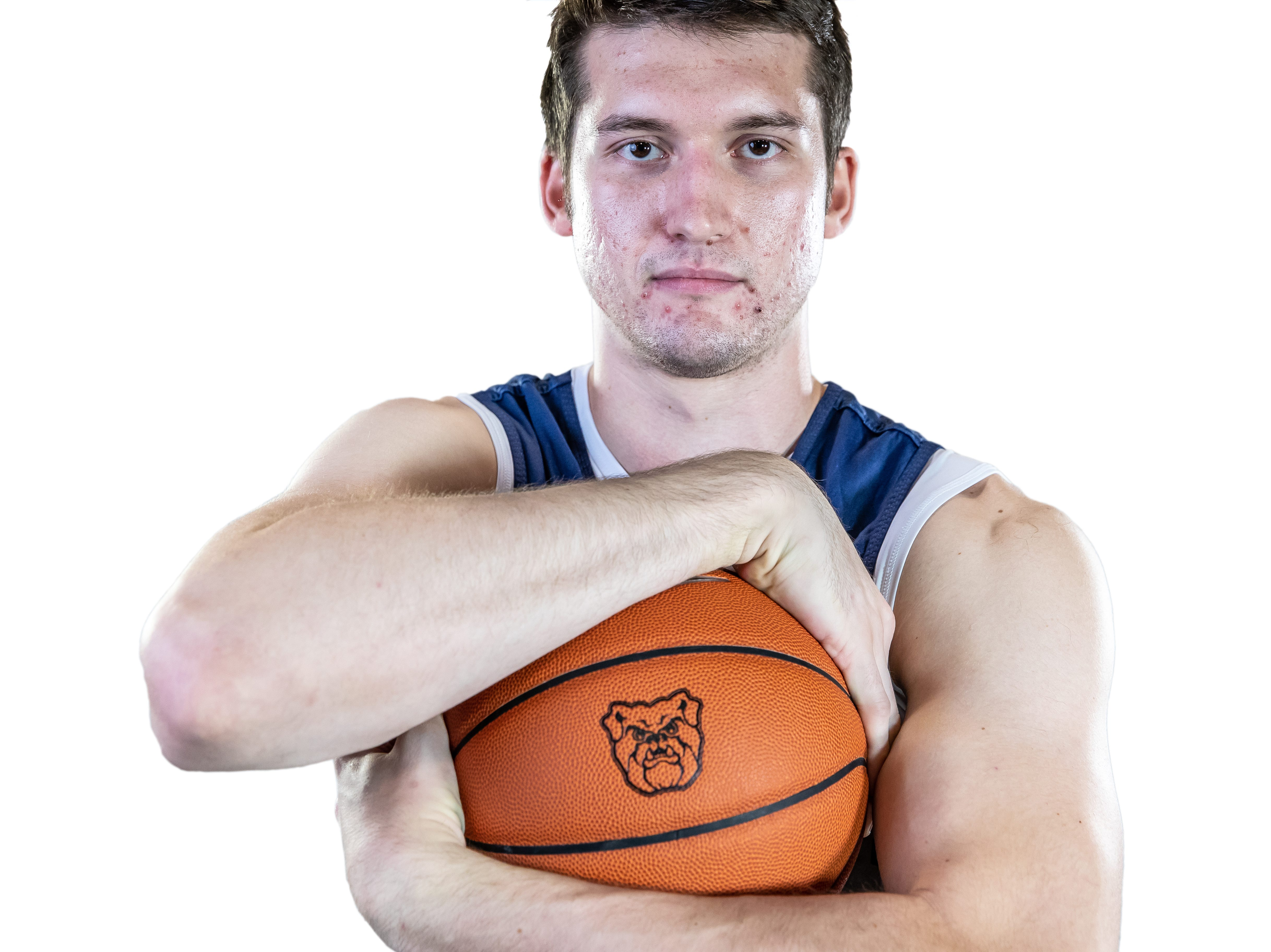 Butler Bulldogs forward Nate Fowler (51) poses for a portrait at Butler University on Friday, Oct. 19, 2018.