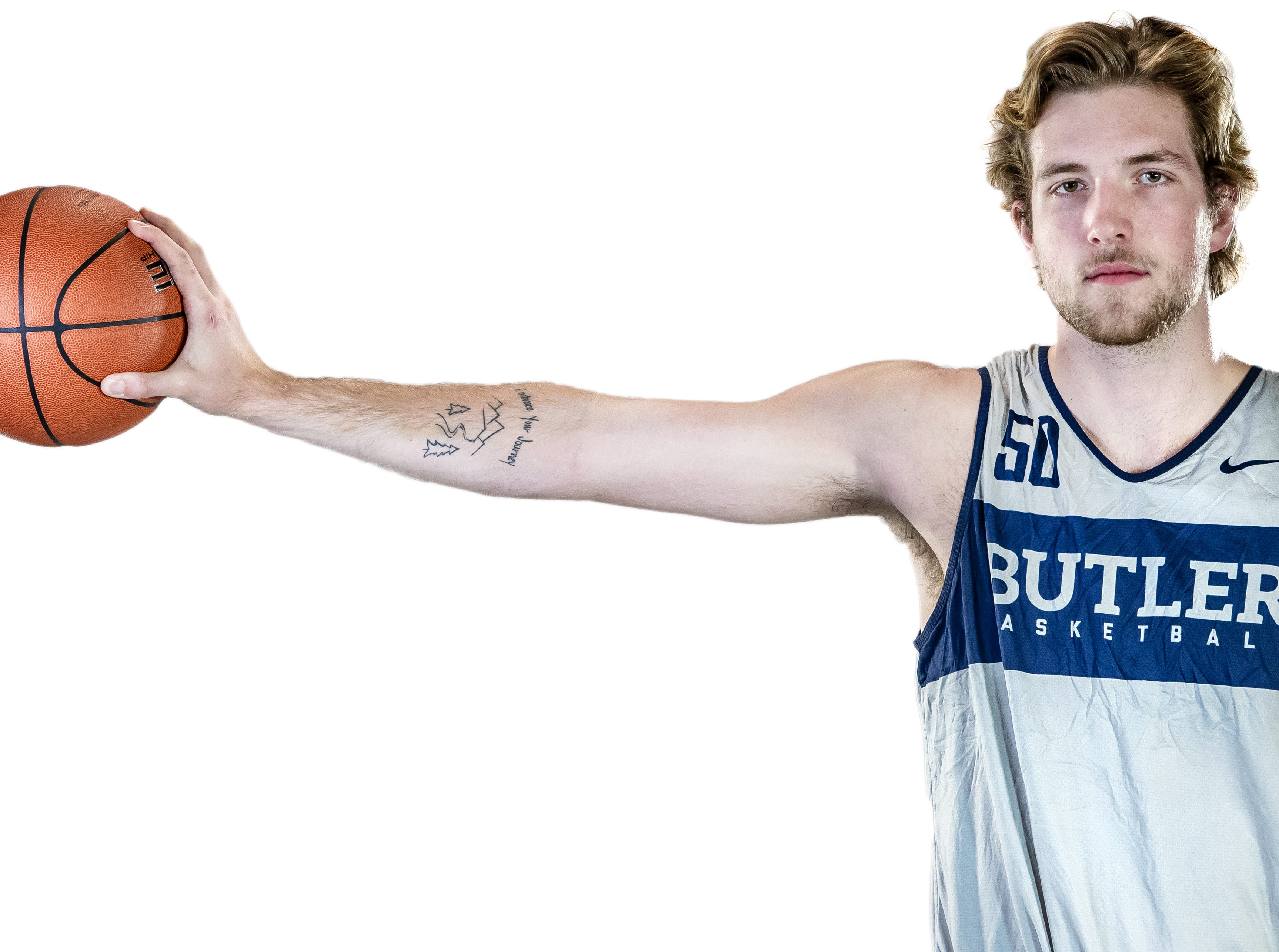 Butler Bulldogs forward Joey Brunk (50) poses for a portrait at Butler University on Friday, Oct. 19, 2018.