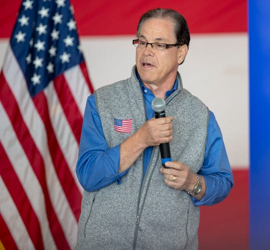 Mike Braun speaks during an appearance by Donald Trump Jr. to lobby for Mike Braun and Greg Pence, who are running for office on Nov. 6, Indianapolis Regional Airport in Greenfield, Monday, Oct. 22, 2018.