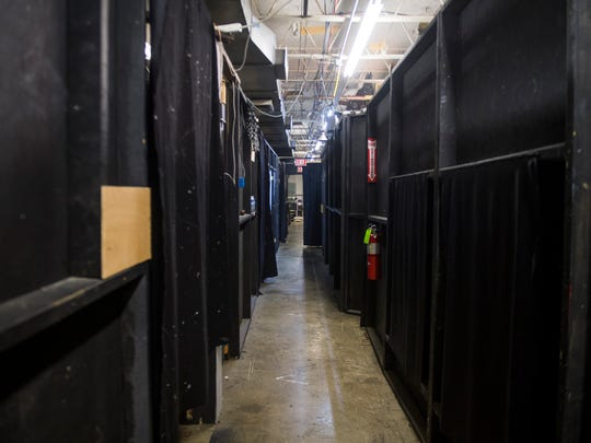 A backstage hallway allows actors and other staff to move between different areas of the FrightWorks haunted house.